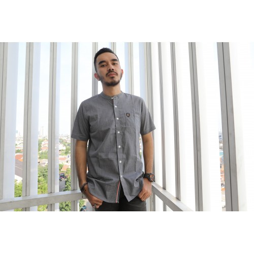 GREY BU SHANGHAI COLLAR SHIRT